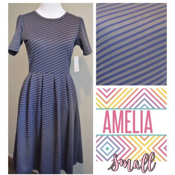 3b56ee088   LuLaRoe Amelia   Gray and Navy Stripes